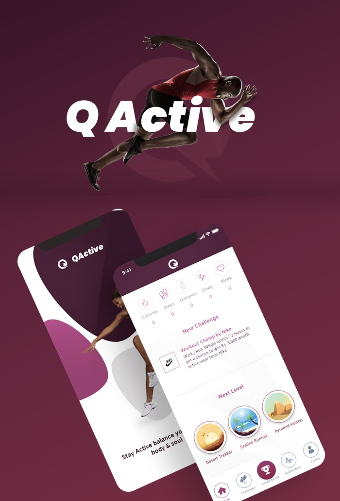 QActive™ (GOYO for Qatar) - Personalised Fitness Tracking App and FitnessBand Solution